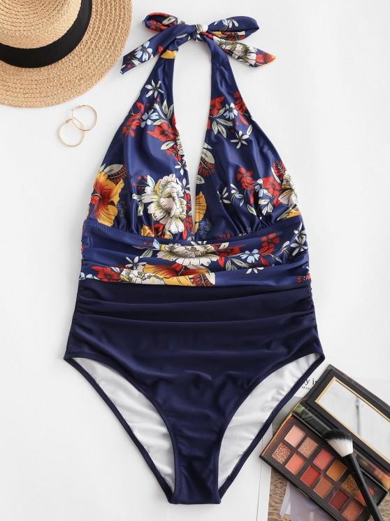 chic ZAFUL Flower Ruched Backless One-piece Swimsuit - DEEP BLUE S