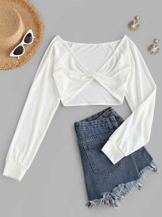 ladies Twisted Plunge Ribbed Knit Crop Tee - WHITE S
