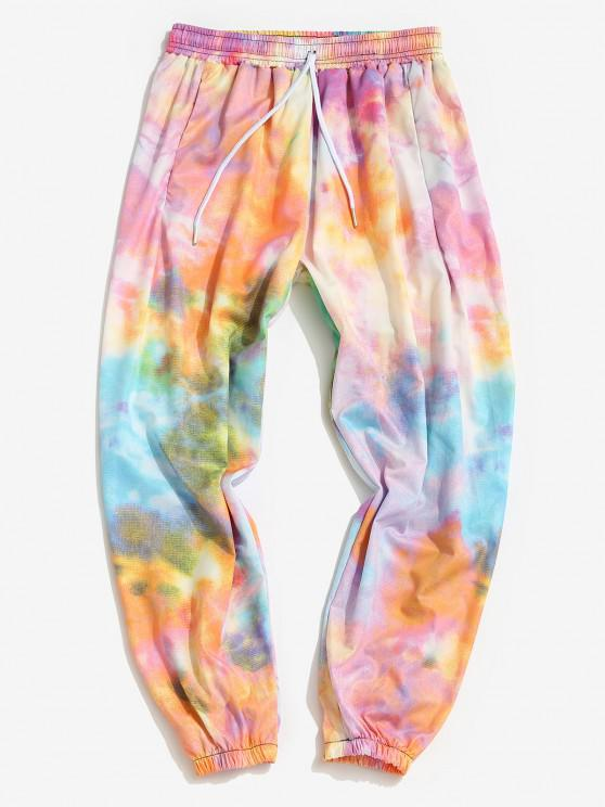 Colored Tie Dye Print Beam Feet Pants - خنزير وردي 3XL