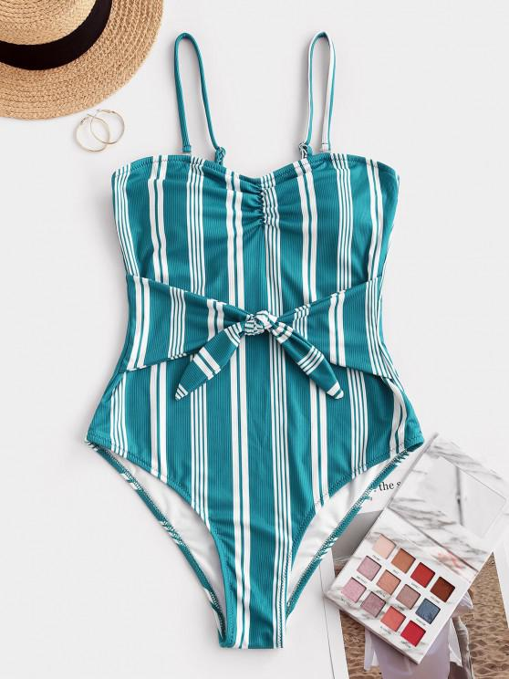 ZAFUL Ribbed Striped Tie Waist One-piece Swimsuit - ديب غرين XL