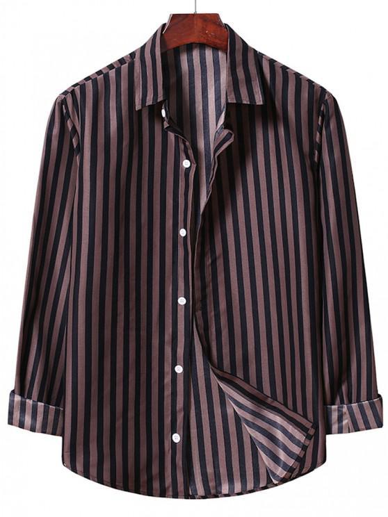 Casual Stripe Shirt - دب بنى M