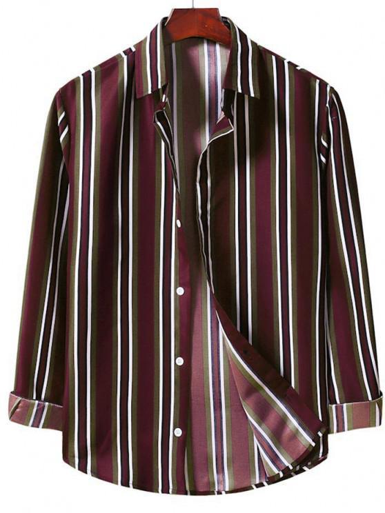 sale Button Up Vertical Stripe Shirt - RED WINE 2XL