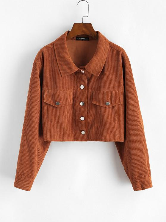 affordable ZAFUL Corduroy Flap Detail Single Breasted Jacket - COFFEE S