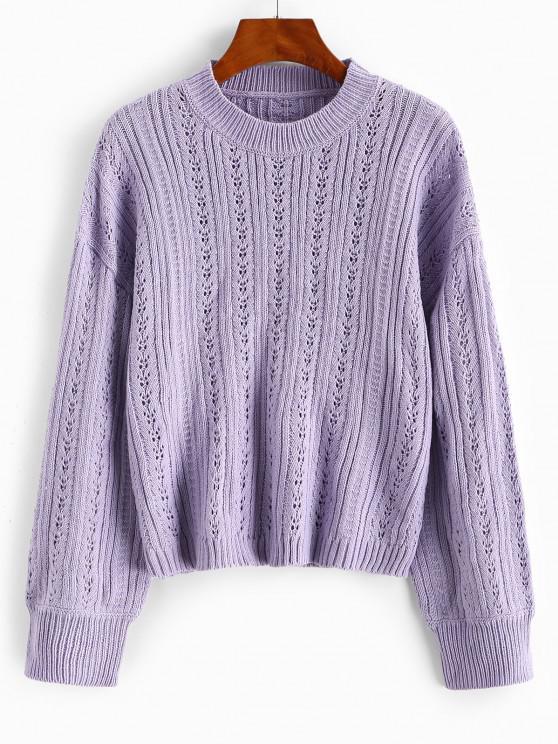 Einfacher Durchbrochene Hängender Schulter Pullover - Helles Lila Eine Größe