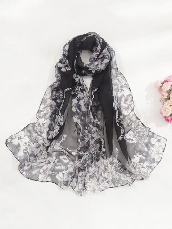 latest Floral Print Sun Protective Chiffon Long Scarf - BLACK