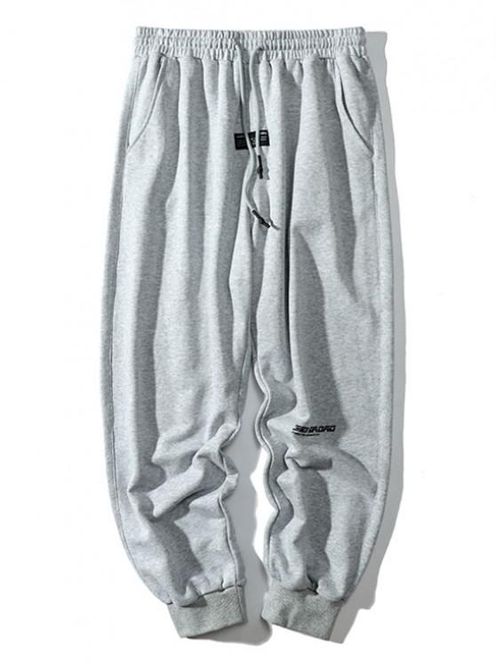 Letter Applique Drawstring Tapered Sweatpants - بلاتين 3XL