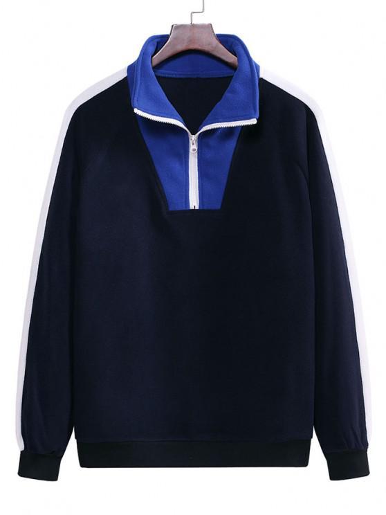buy Colorblock Half Zip Raglan Sleeve Fleece Sweatshirt - MIDNIGHT BLUE 2XL