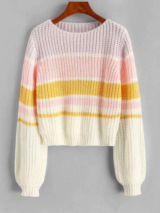 Colorblock Lantern Sleeve Chunky Sweater - ضوء ارجواني حجم واحد