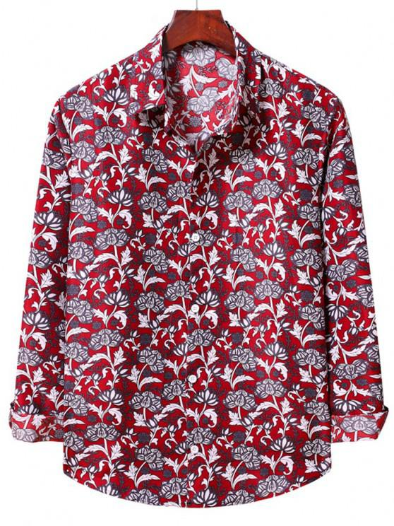 womens Flower Print Long Sleeve Casual Shirt - LAVA RED S