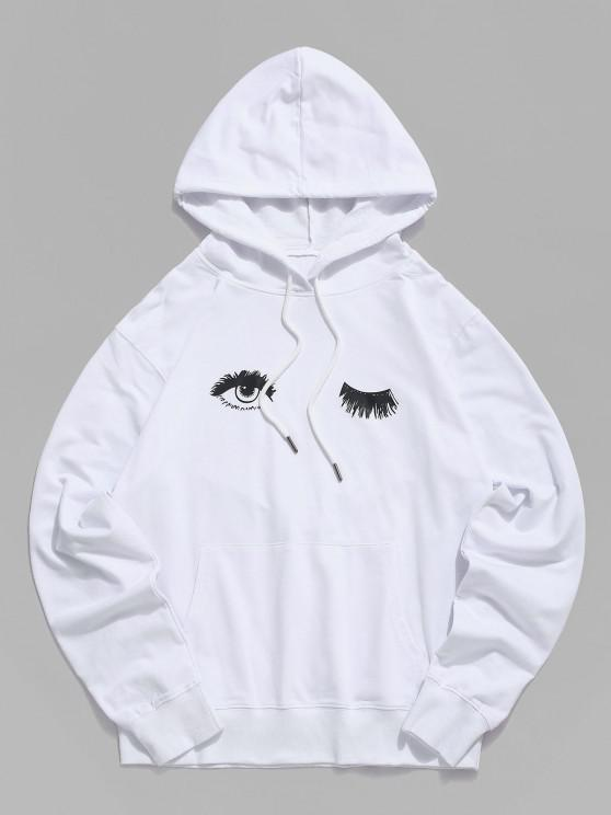 outfits Wink Eye Graphic Pouch Pocket Drawstring Hoodie - WHITE 2XL
