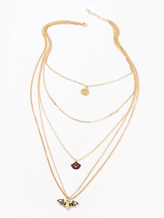 Halloween Bat Spider Web Lips Multilayered Chain Necklace - ذهبي