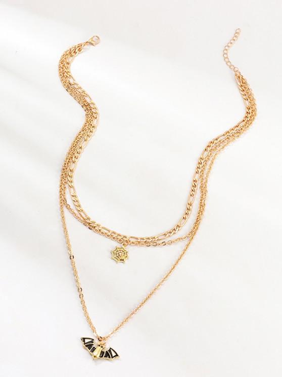Halloween Bat Spider Web Pendant Multilayered Chain Necklace - ذهبي