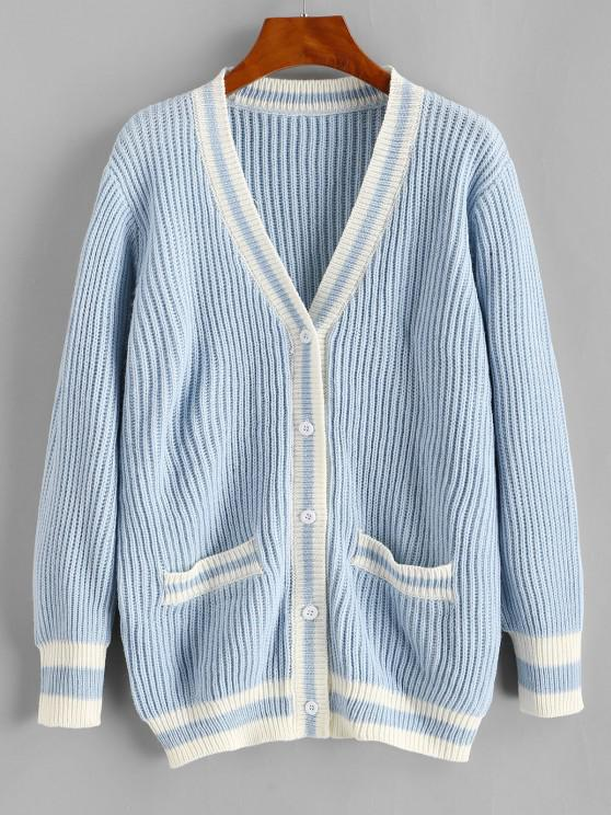 hot Striped Pocket Button Up Cardigan - LIGHT BLUE ONE SIZE
