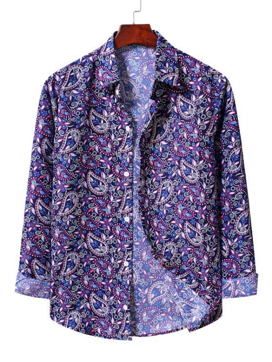 buy Casual Paisley Print Shirt - BLUEBERRY BLUE S