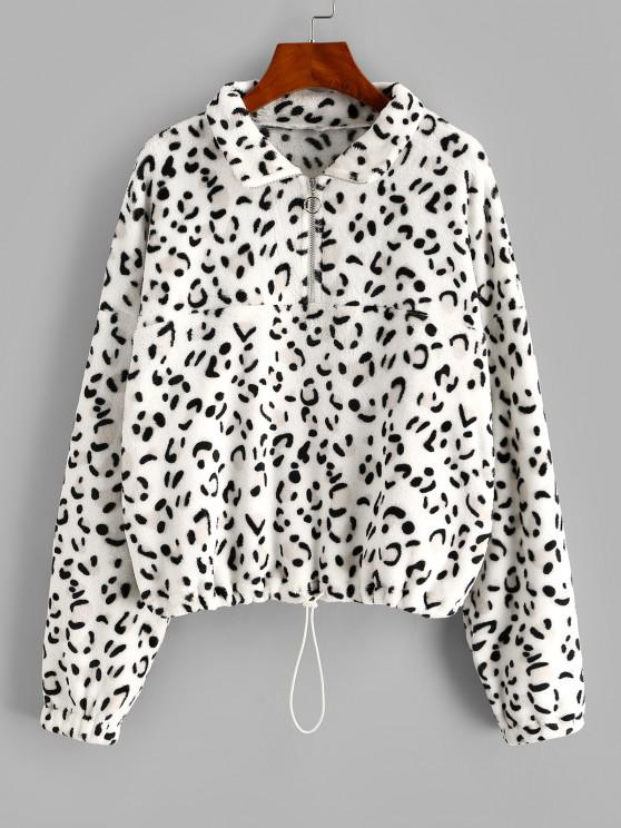 women's ZAFUL Leopard Half Zip Drop Shoulder Plush Sweatshirt - WHITE L