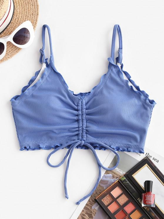 fashion ZAFUL Ribbed Lettuce Trim Cinched Swim Top - BLUE S