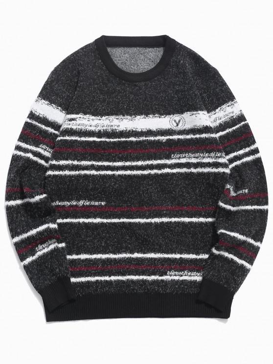 Flaumiger Gestreifter Pullover mit Rundhalsausschnitt - Schwarz XS
