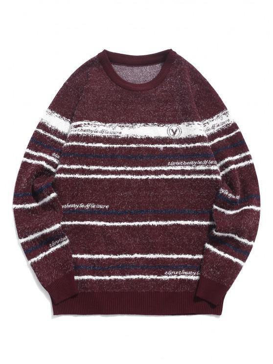 women's Crew Neck Fuzzy Striped Sweater - RED WINE M