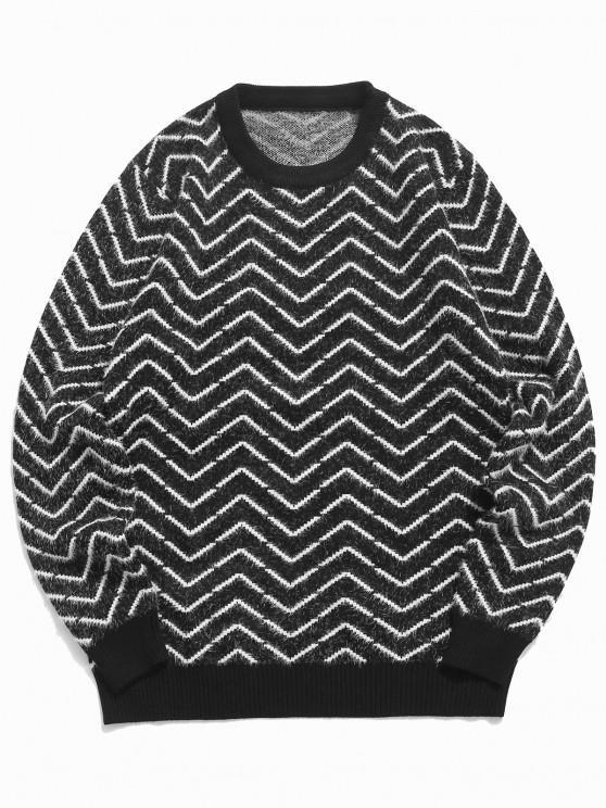 women's Crew Neck Chevron Pattern Fuzzy Sweater - BLACK S