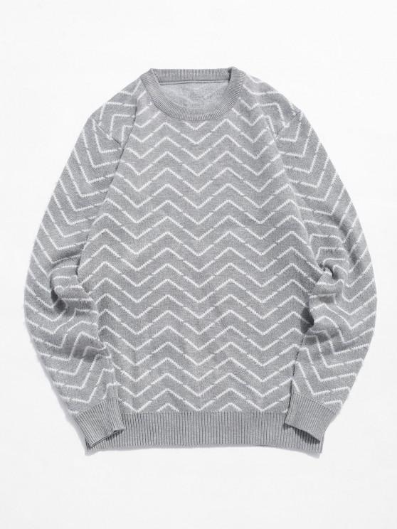 Rundhalsausschnitt Chevron Muster Unscharfe Pullover - Grau XS