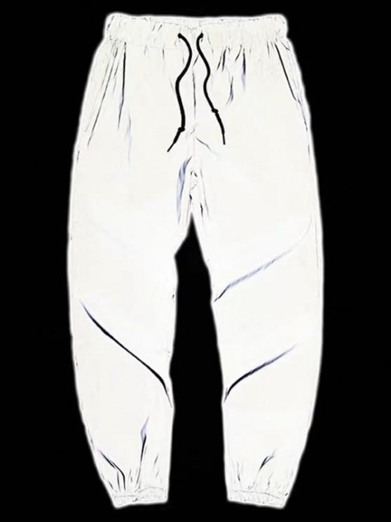 Drawstring Luminous Tapered Sports Pants - رمادي فاتح L