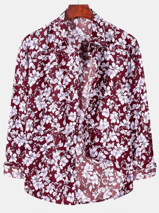 women's Casual Floral Print Button Up Shirt - RED WINE 2XL