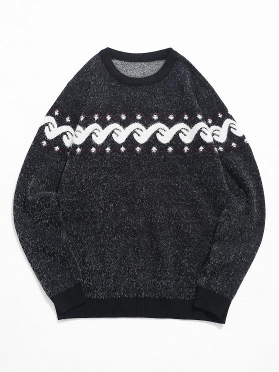 women Fuzzy Graphic Ribbed Hem Knitted Jumper Sweater - BLACK M