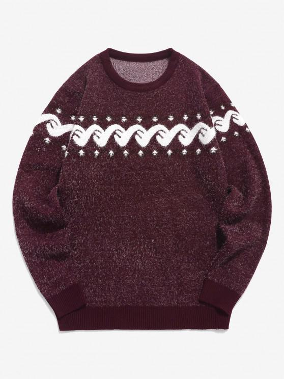 Fuzzy Graphic Ribbed Hem Knitted Jumper Sweater - نبيذ احمر S