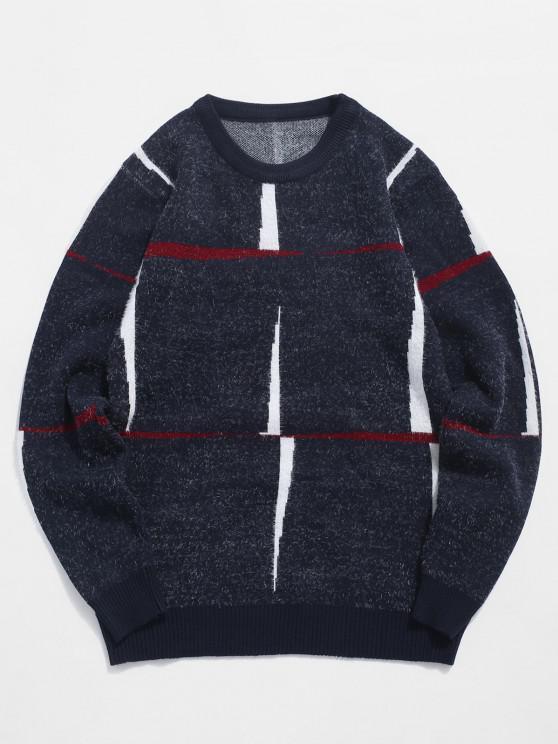 womens Crew Neck Fuzzy Graphic Sweater - CADETBLUE XS