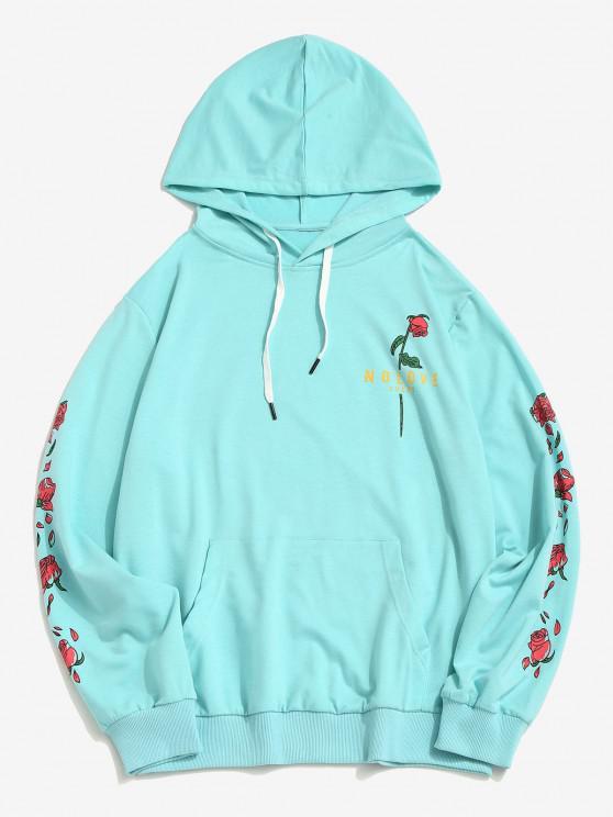 outfit Kangaroo Pocket Flower Print Graphic Hoodie - LIGHT BLUE L