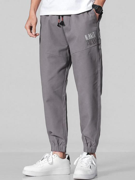 Letter Embroidery Elastic Cuff Pants - الرمادي الداكن L