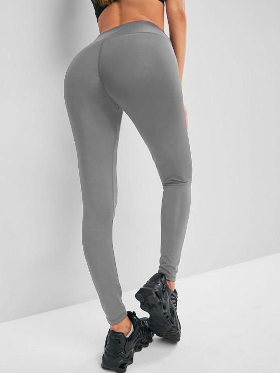 outfits Solid Stitching High Waisted Sports Leggings - GRAY L