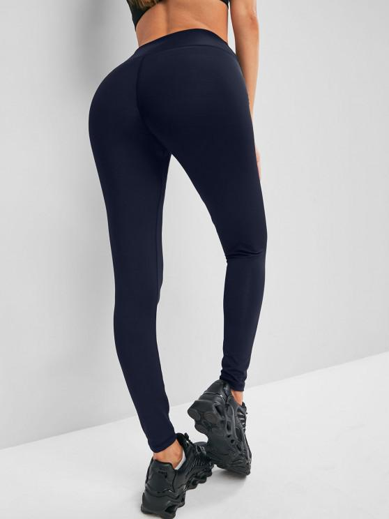 unique Solid Stitching High Waisted Sports Leggings - DEEP BLUE S
