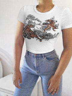 Tiger Floral Print Ribbed Crop Tee - White S