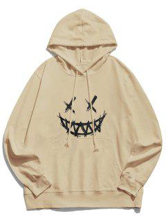 Happy Face Graphic Pouch Pocket Casual Hoodie - Light Coffee L