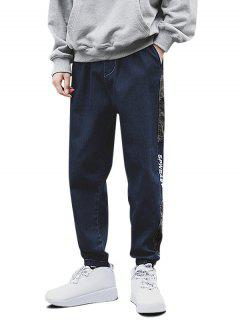 Camouflage Panel Letter Embroidery Jeans - Deep Blue S