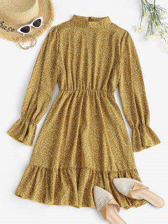Ditsy Floral Ruffle Cuff Long Sleeve Dress - Light Yellow M