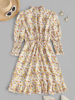 Floral Smocked Puff Sleeve Flounce Dress - Light Yellow S