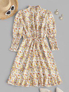 Robe Fleurie Plissée à Manches Bouffantes à Volants - Jaune Clair M