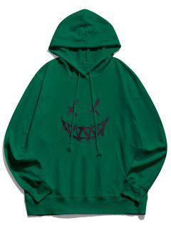 Sudadera Con Capucha Feliz Bolsillo Con Patrón De Cara - Verde Oscuro 2xl