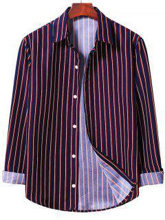 Vertical Striped Shirt - Midnight Blue S