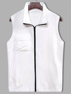 Fleece Zipper Pocket Vest - White L