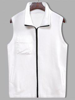 Fleece Zipper Pocket Vest - White M