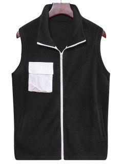 Fleece Zipper Pocket Vest - Black 3xl