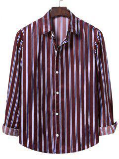 Camisa A Rayas Verticales Con Botones - Vino Tinto S