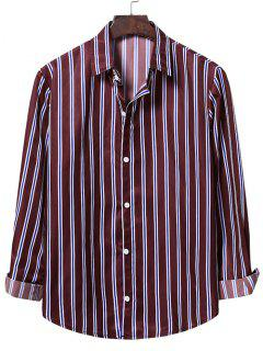 Casual Vertical Stripes Button Up Shirt - Red Wine L