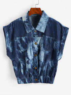 Tie Dye Chambray Pocket Cuffed Vest - Deep Blue M