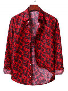 Casual Floral Print Shirt - Lava Red Xl