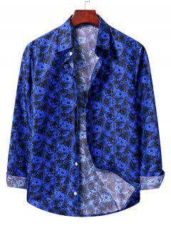 Casual Floral Print Shirt - Cobalt Blue 2xl