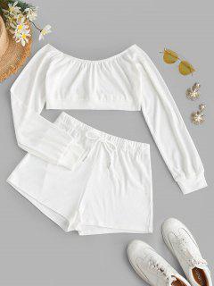 Off Shoulder Drawstring Two Piece Shorts Set - White S